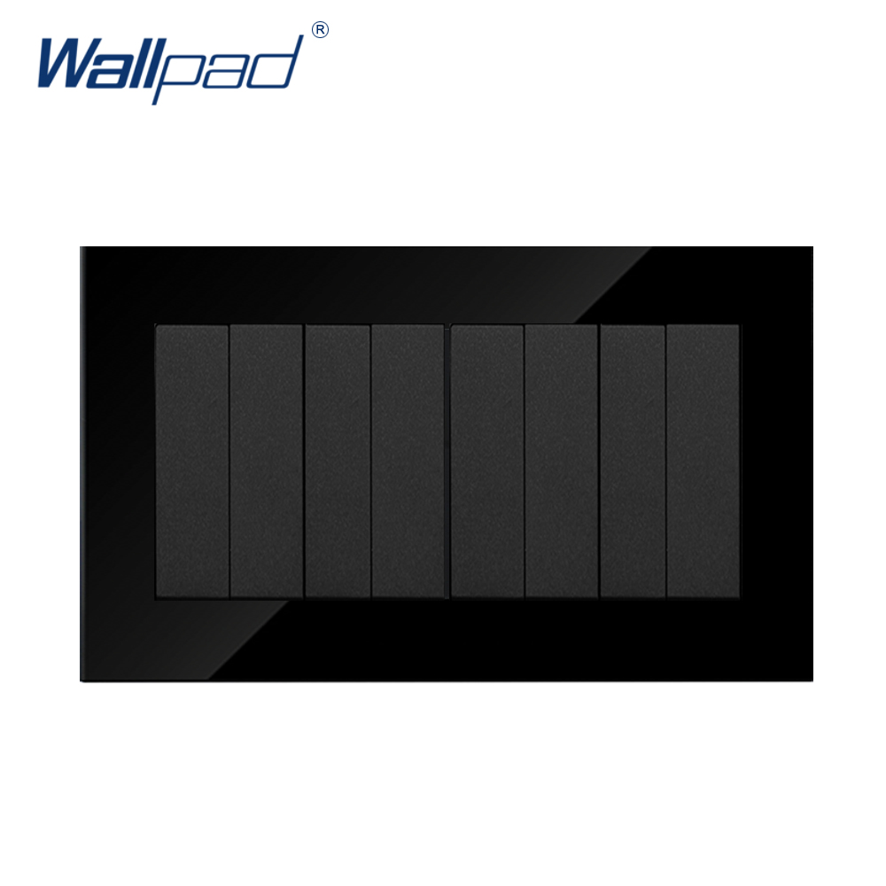 8 Gang Switch and EU Socket Wallpad Black Crystal Glass 146*86mm Push Button 8 Gang 2 way Wall Light Power Supply Switch