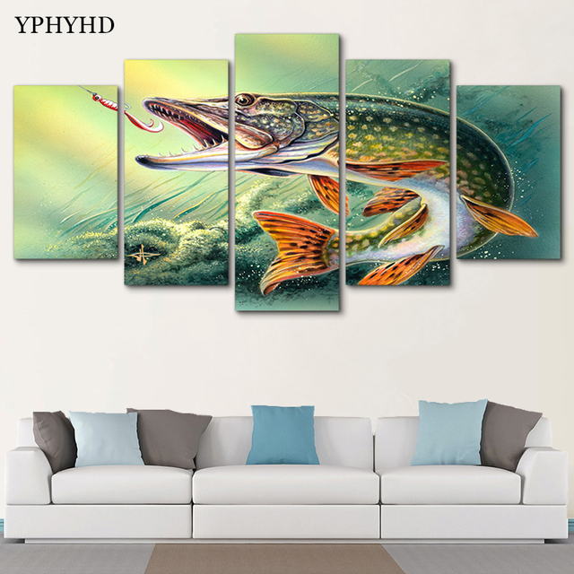 YPHYHD 5 Piece Canvas Art Fishing Hooked Pike Fish Canvas Painting Wall Pictures For Living Room Home Decor Poster And Prints