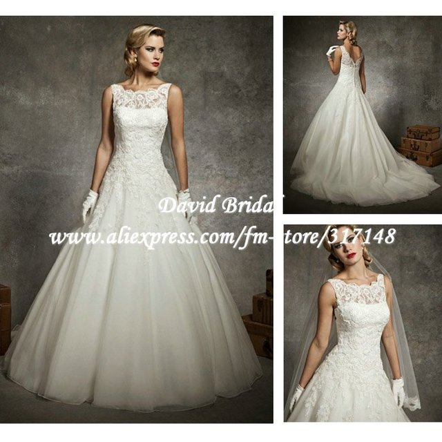 Beautiful Princess Bridal DV138 Fashion Elegant Ivory Sleeveless A Line Lace  Top Organza Wedding Dress 2013 367c78c546c3