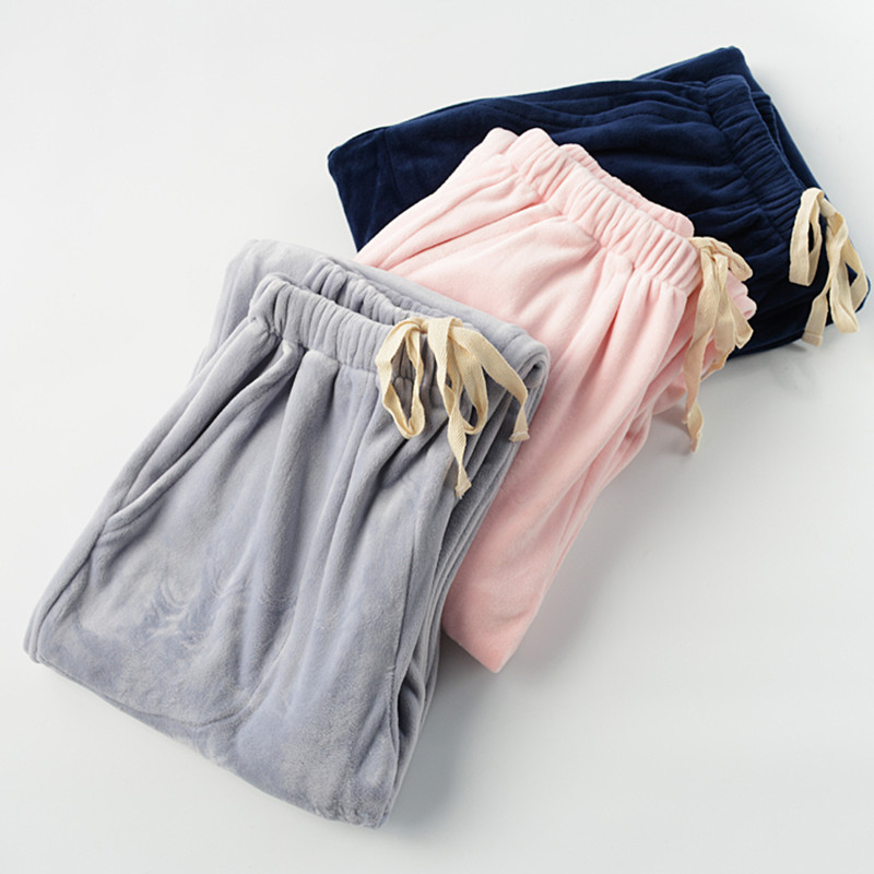 Women's Sleep Pants trousers winter Warm Solid Color Trousers Loose Women Sleep Bottoms Thickening