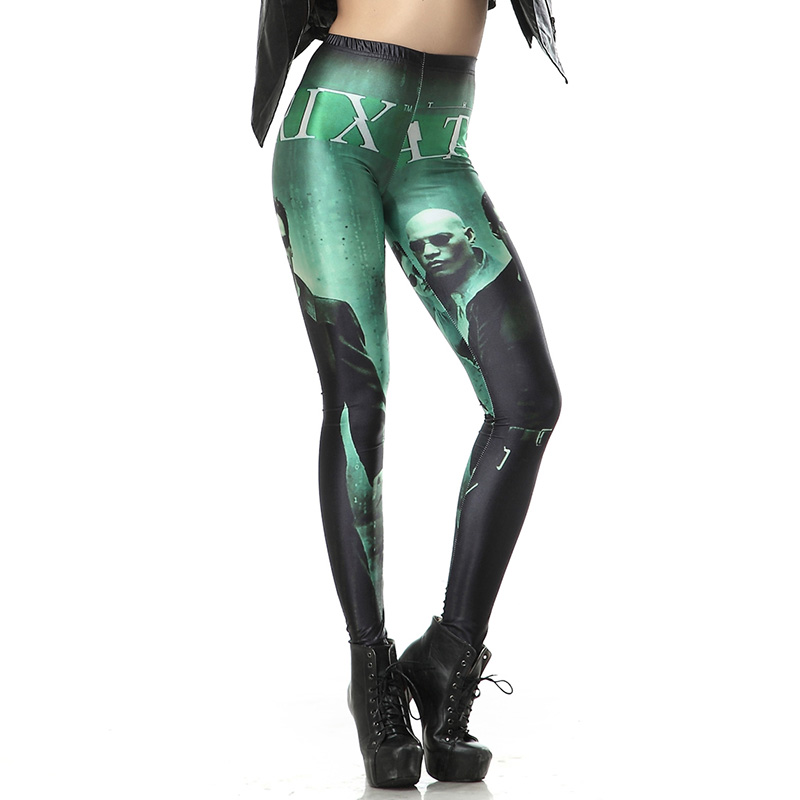 New Arrival 1171 Sexy Girl The Matrix Digital Movie Film Printed Elastic Fitness Polyester Workout Women Leggings Pants