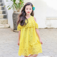 Cotton Hollow Out Off Shoulder Holiday Teenage Girls Dress Summer 2018 Ruffles Yellow Purple Baby Girls Children Dresses Clothes