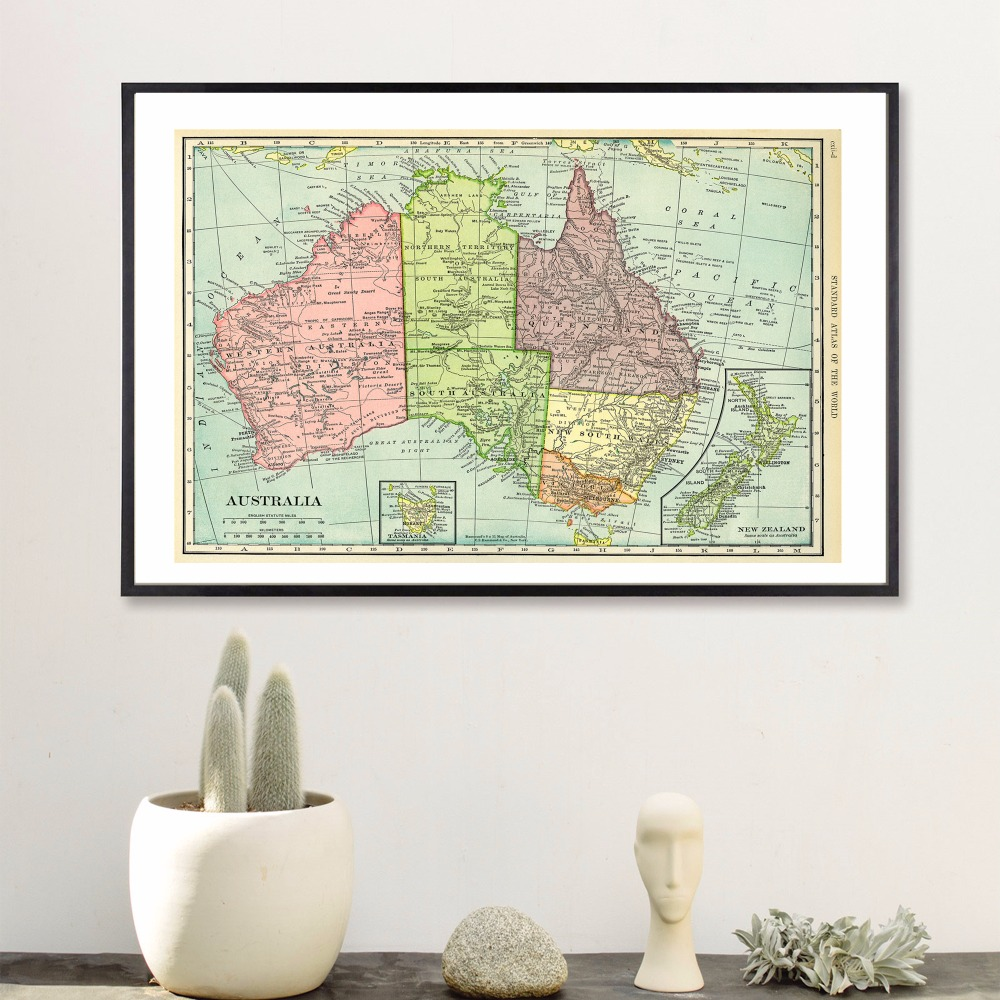 Australia Map Quote Modern Poster Art Wall Pictures Silk Fabric Printed Painting Room Decoration Home Decor