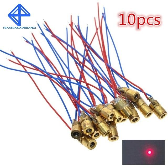 10 pces 5 v 650nm 5 mw ajustável laser dot módulo de diodo visão vermelha cabeça cobre mini ponteiro laser