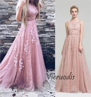 2019 Long Prom Dresses A Line Appliques Lace Sleeveless With Belt Blush Pink Formal Evening Gowns Prom Dress gala Party dress