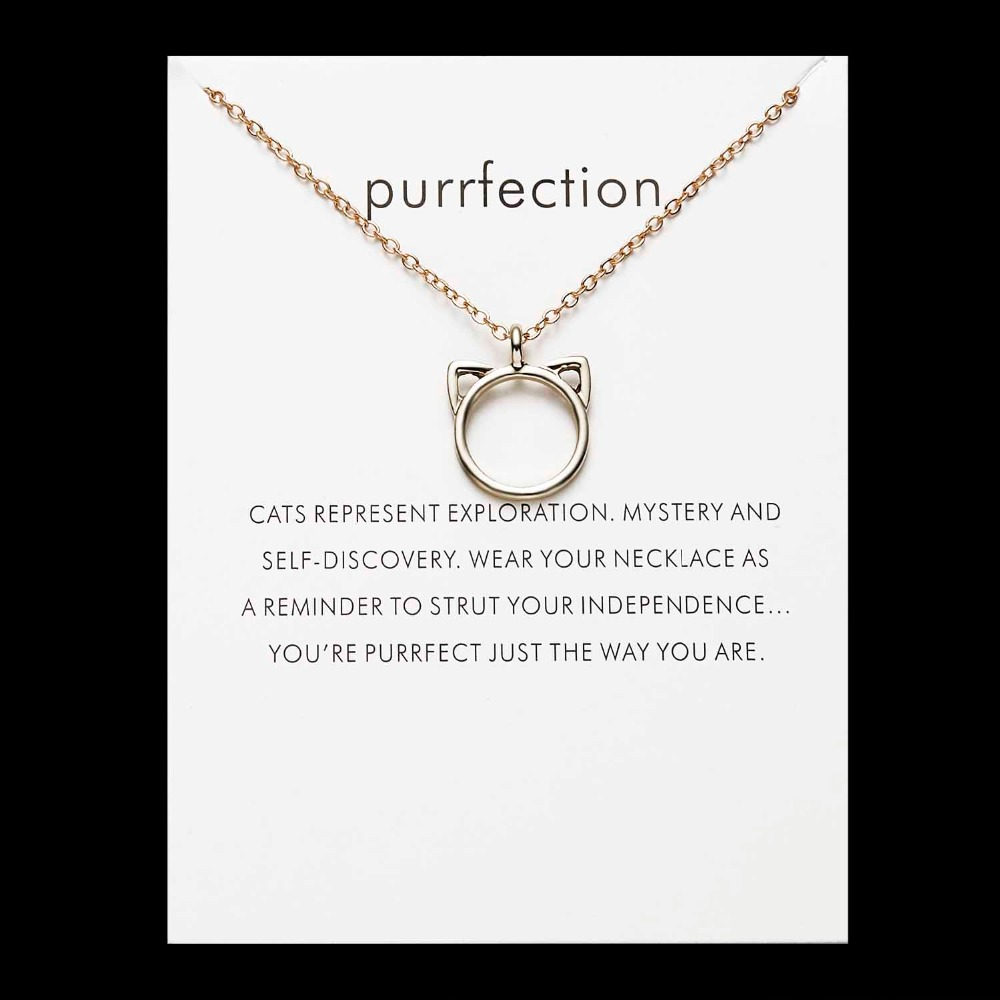 Cats Ears Purrfection Necklace Gift Set Gold or Silver Cat
