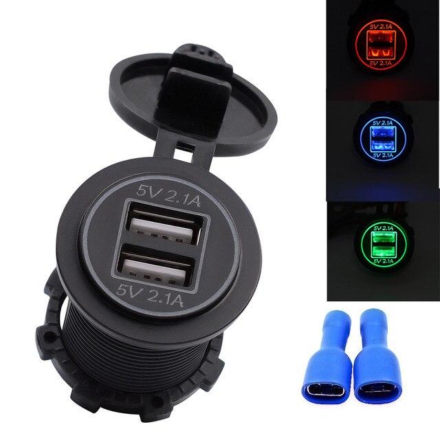 Cargador de coche impermeable 5 V 4.2A cargador USB Dual adaptador de toma de corriente de carga rápida para 12 V 24 V USPS de estilo de coche de motocicleta
