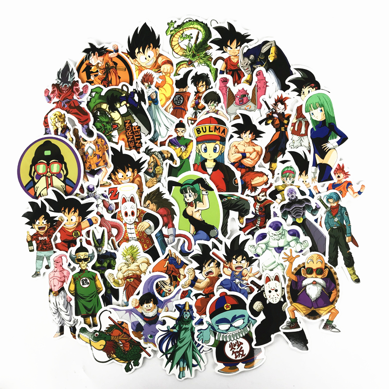 50 Pcs/lot Anime Dragon Ball Stickers Super Saiyan Goku Stickers For Car Suitcase Skateboard Pad Bicycle Phone Decal Pvc Sticker Excellent Quality
