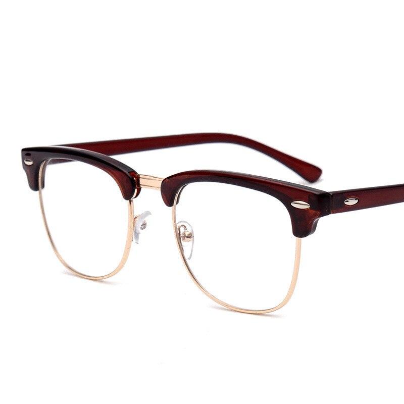 Retro Moda Metal Yarım Çerçeve Gözlük Çerçeve Kadın Erkek - Elbise aksesuarları - Fotoğraf 3