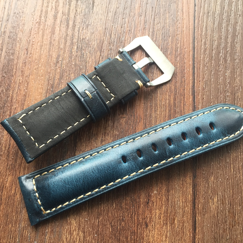 LUKENI Top Quality Oil Blue 20mm 22mm 24mm 26mm Vintage Genuine Leather Watch Band Strap For Panerai PAM And Big Pilot Watch straps 20mm 22mm 24mm 26mm calf skin genuine leather watch band with watch stainless steel black buckle for panerai watch strap