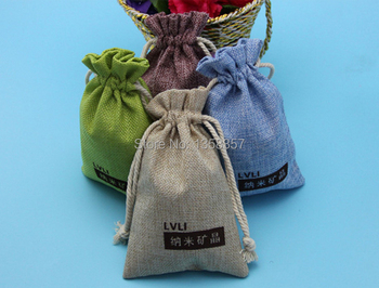 100pcs wholesale jute drawstring gift bags high quality jewelry pouches for toiletry dry goods packaging, Various colors