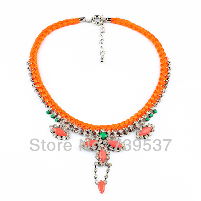 xl00635 Fashion Banquet Statement Necklace Orange Rope Braided Leaves Pendant Necklace For Ladies