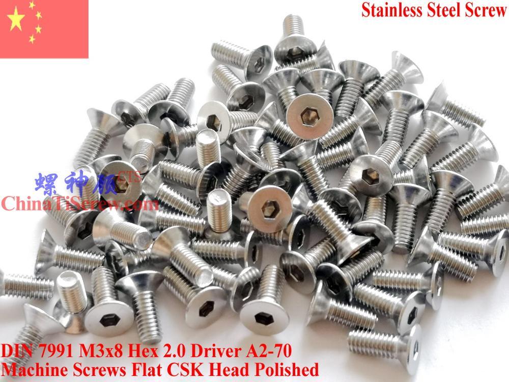 Aço inoxidável A2-70 M3x8 CSK Cabeça Chata parafusos DIN 7991 Hex Motorista Polido ROHS 100 pcs