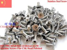 Stainless Steel screws M3x8 CSK Flat  Head DIN 7991 Hex Driver A2-70 Polished ROHS цена