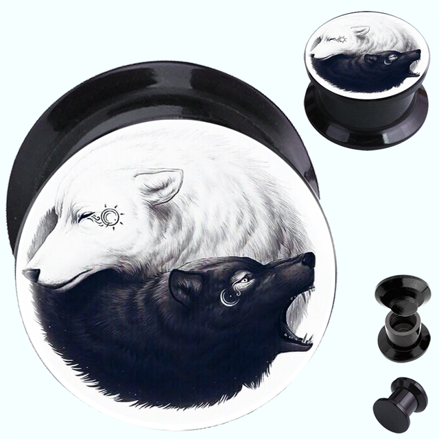 2pcslot Yin Yang Wolf Sun And Moon Acrylic Screw On Ear Gauge Plugs