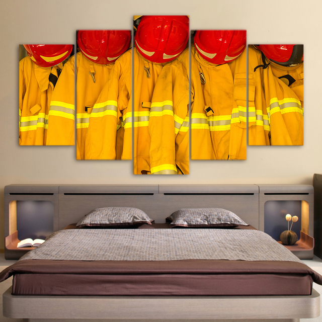 5 Panel Fire Fighting Clothes Caps Modular Canvas Wall Art Painting ...
