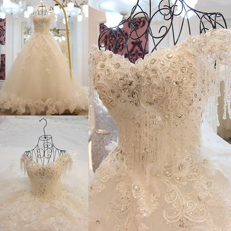 Элитное роскошное кружевное свадебное платье с бисером и стразами, белое Королевское свадебное платье с кристаллами, Vestido De Noiva 2019
