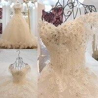 High end Luxury Diamond Beading Lace Wedding Dress White Crystal Royal Train Bridal Dress Vestido De Noiva 2019