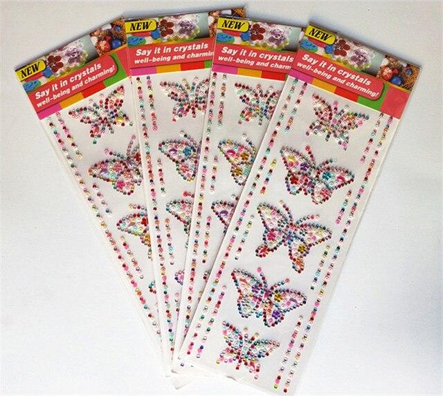 b9a2b7a9ff Happyxuan 4 Sheets DIY Crystal Diamond Stickers Butterfly Bracelets Kids  Craft Scrapbooking Materials Rhinestone Adhesive Strips