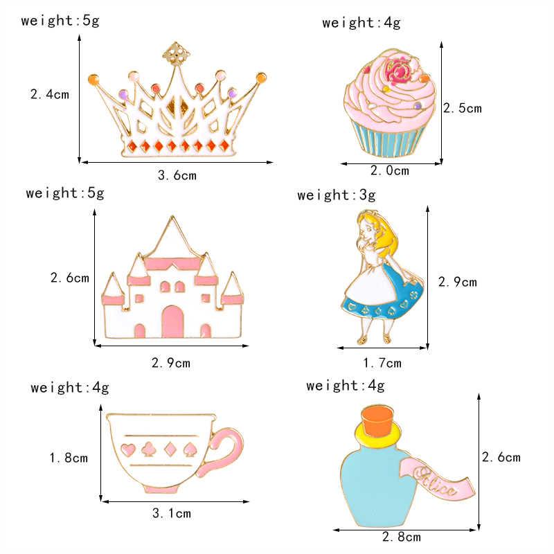 Королева Алиса в стране чудес нагрудные булавки брошь для женщин милая Волшебная Шляпа кекс эмалированные значки на булавке цвет сказочные ювелирные изделия аксессуары