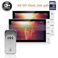 "FREE SHIPPING New 9"" Color Screen Recorder Video Door phone Intercom Kit + Waterproof Outdoor Camera + 2 White Monitors + 8G SD"