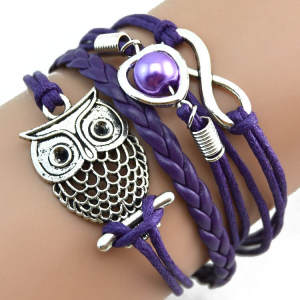 Charm Bracelets Wristband Jewelry Multilayer Gift Pearl Lovely Women Infinity-Owl