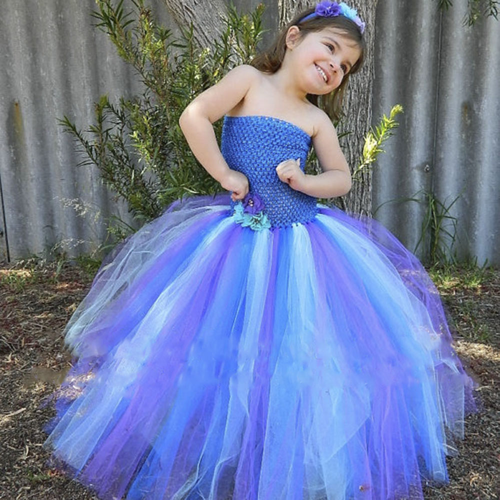 Pretty Mermaid Girl Tutu Dress Baby Kids Birthday Outfit Photo Prop Halloween Costume Peacock Wedding theme Wear For Princess 1set baby girl polka dot headband romper tutu outfit party birthday costume 6 colors