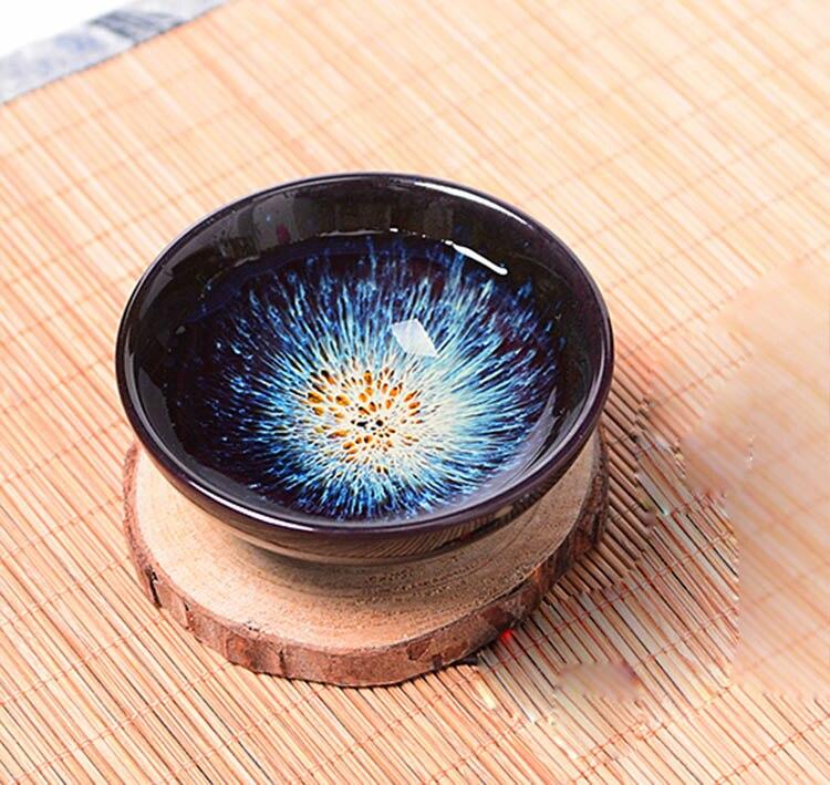 Ev ve Bahçe'ten Çay Takımı Setleri'de 1 adet Temmoku sır çay bardağı  Kung fu bardak Inşa fırın seramik fincan Çay Fincanı  çin Jingdezhen Yıldızlı gökyüzü çay seti Güzel sanat title=