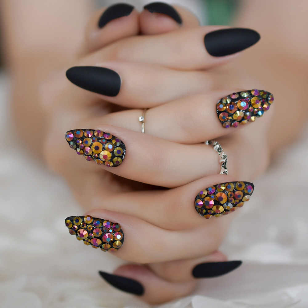 Detail Feedback Questions About 3d Press On Nails Rose Black Bling