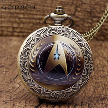 2018 Hot New Style Star Trek Theme Pocket Watch With Necklace FOB Chain Fashion Starfleet Command Logo Quartz Pocket Watch Gifts(China)