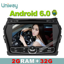 Uniway 2G+32G  android 6.0 car dvd player for Hyundai Santa FE IX45 2013 2014 stereo car radio gps navigation support 4G/WIFI