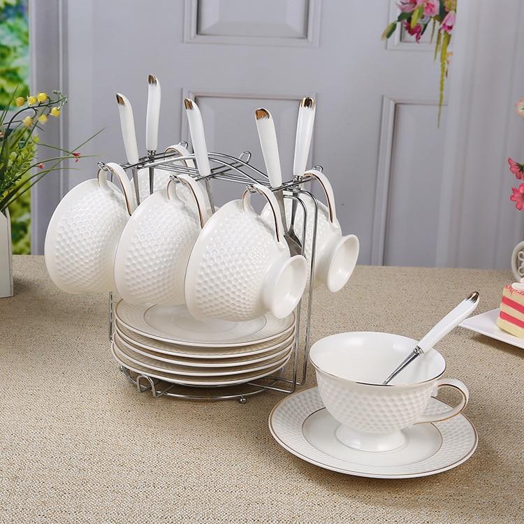 6 pièces ensembles chine tasse à café en céramique plat ensemble haute qualité après-midi thé ensemble os porcelaine tasse soucoupe ensemble avec cuillère livraison gratuite