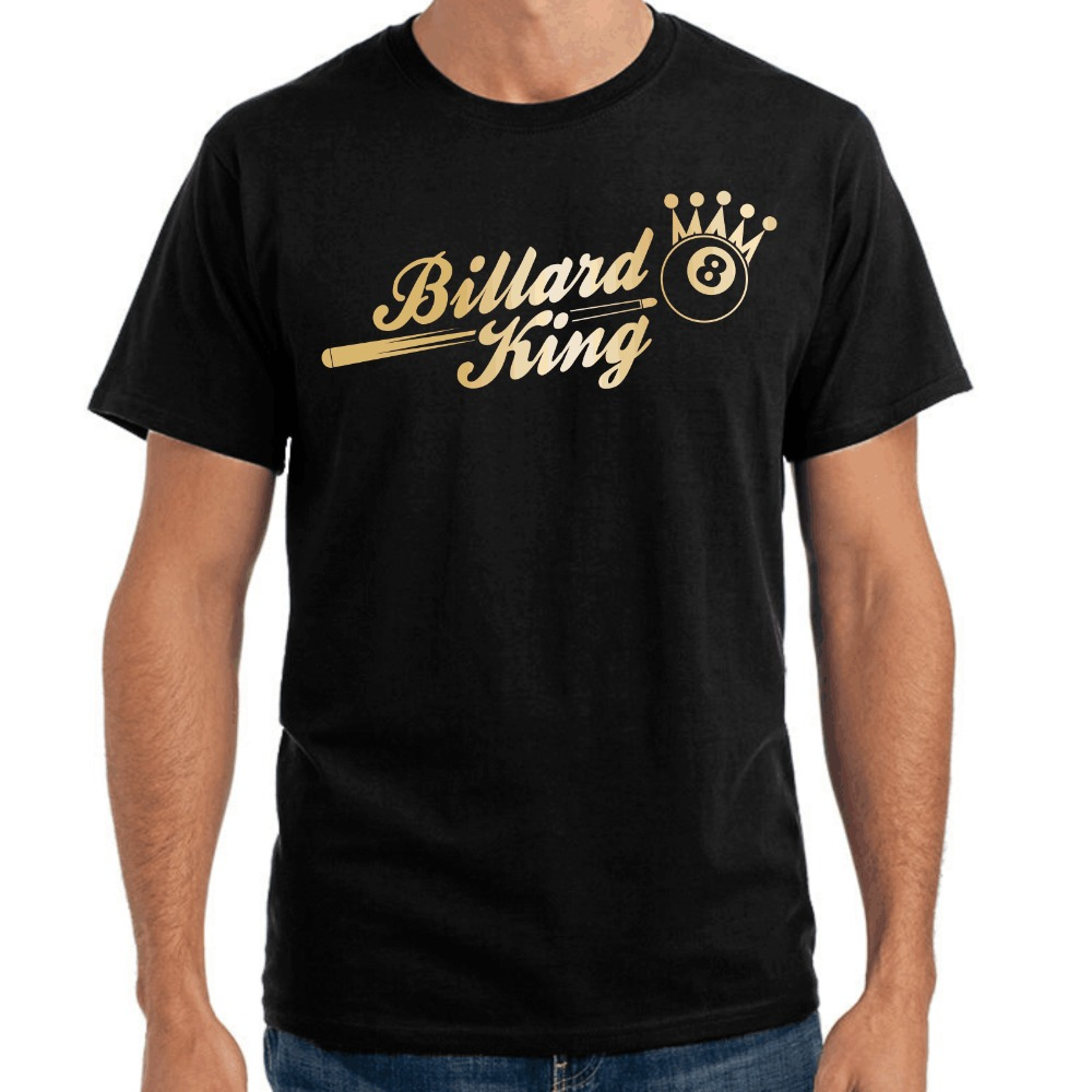 Brand Clothing Men Printed Round Men T-shirt Cheap Price Billard King Sporter Pool 8-Ball Crown Fun design your own t shirt
