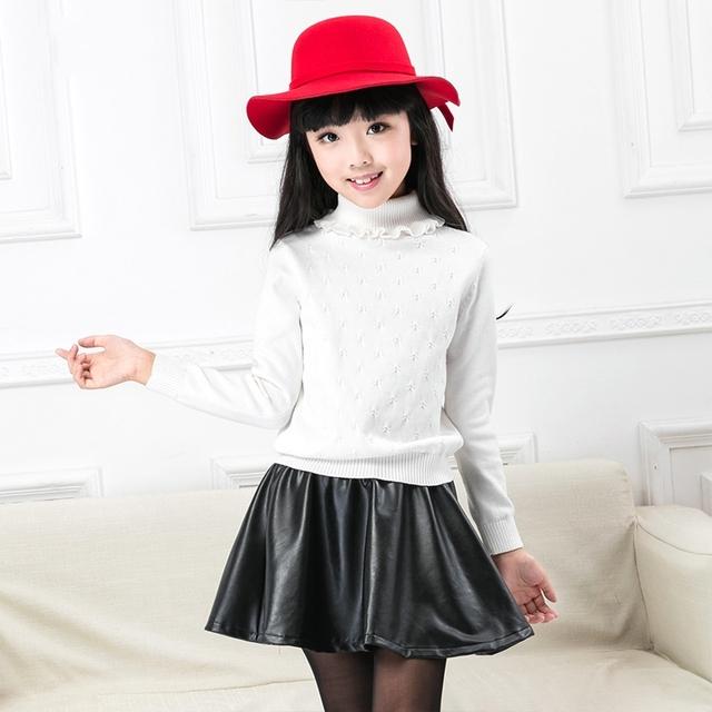 2016 Muchachas del invierno de Manga Larga Camisetas para niñas Tejer Suéteres Tops Chica de Moda Jerseys de Cuello Alto Suéter Prendas de Vestir Exteriores