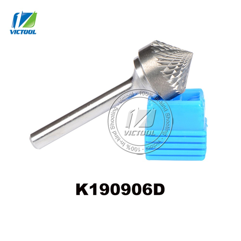 Tungsten carbide K type cone 90 degree 19*9mm rotary burr file cutter grinding and abrasive tool K190906 6mm shank milling tools