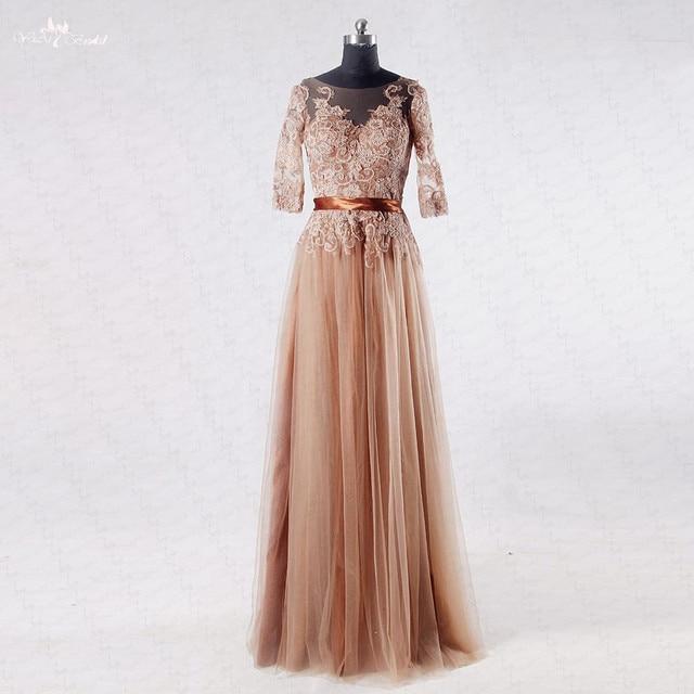 3161eb1d86 Rse727 Encaje manga larga café color superior vestido de graduación vestido  de fiesta