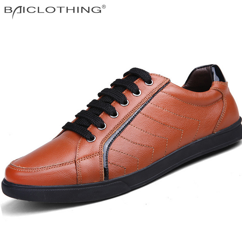 ФОТО Fashion Leather Patchwork Men Shoes 2016 Spring Autumn Breathable Lace-up Casual Shoes Outdoor Flat Shoes Plus Size 45 46 47 48