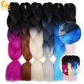 Ombre Kanekalon Jumbo Braiding Hair Colors 24'' African Synthetic Ombre Black Light Grey Two Tone Braiding Hair Styles