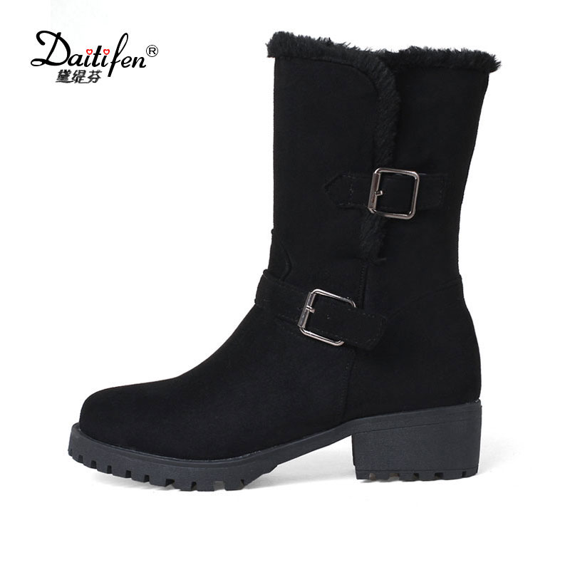 цены на Daitifen Fashion Waterproof Snow Boots Women's Mid Calf Boots low heel Winter Botas Mujer Platform Fur Shoes Woman Size 34-43 в интернет-магазинах