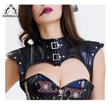 TOPMELON Crop Corset Gothic Steampunk Cut Out Corselet Leather Accessories Women's Sexy Sleeveless Crop Shoulder Lace Up Top army green cut out crop top