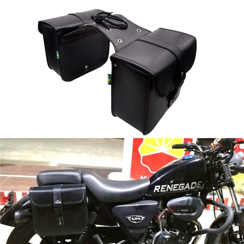 1 Pair Universal Motorcycle Tail Side Saddle Bags PU Leather Tool Bag Large Capacity For Harley Honda Yamaha Suzuki Accessories