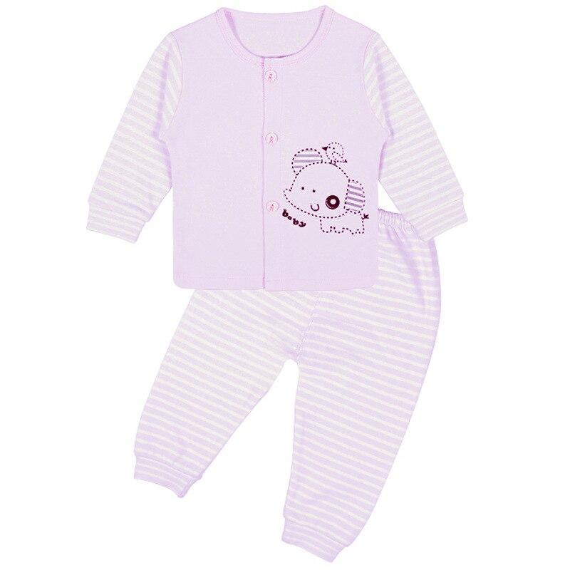 New Stripe Cartoon Girls Boys baby Clothing Long Sleeve Single breasted cotton Babys Sets