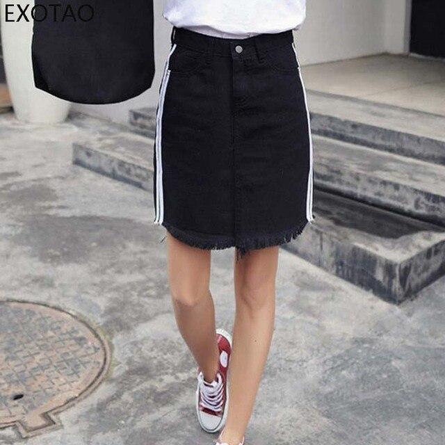 130e55d2c766fb EXOTAO Jeans Vrouwen Mini Rok Herfst Side Gestreepte Rits Kwastje Saia  Feminina EEN Lijn Hoge Taille