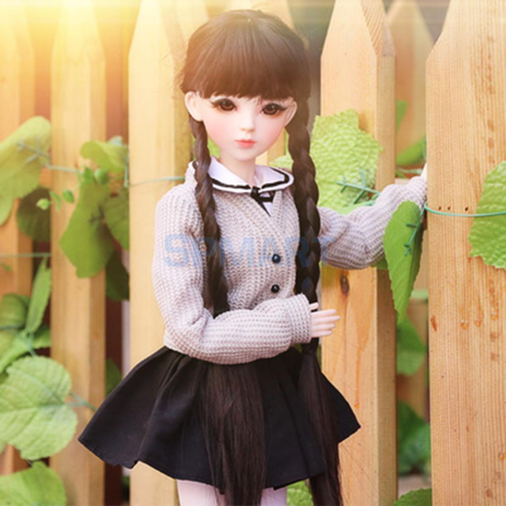 Trendy Student Style Grey Cardigan Sweater Shirt Skirt Socks Clothing Set for 1/3 BJD SD AS DZ DOA YOSD LUTS bjd bb black high leather boots for 1 6 yosd super dollfie luts dod as dz doll shoes sb16