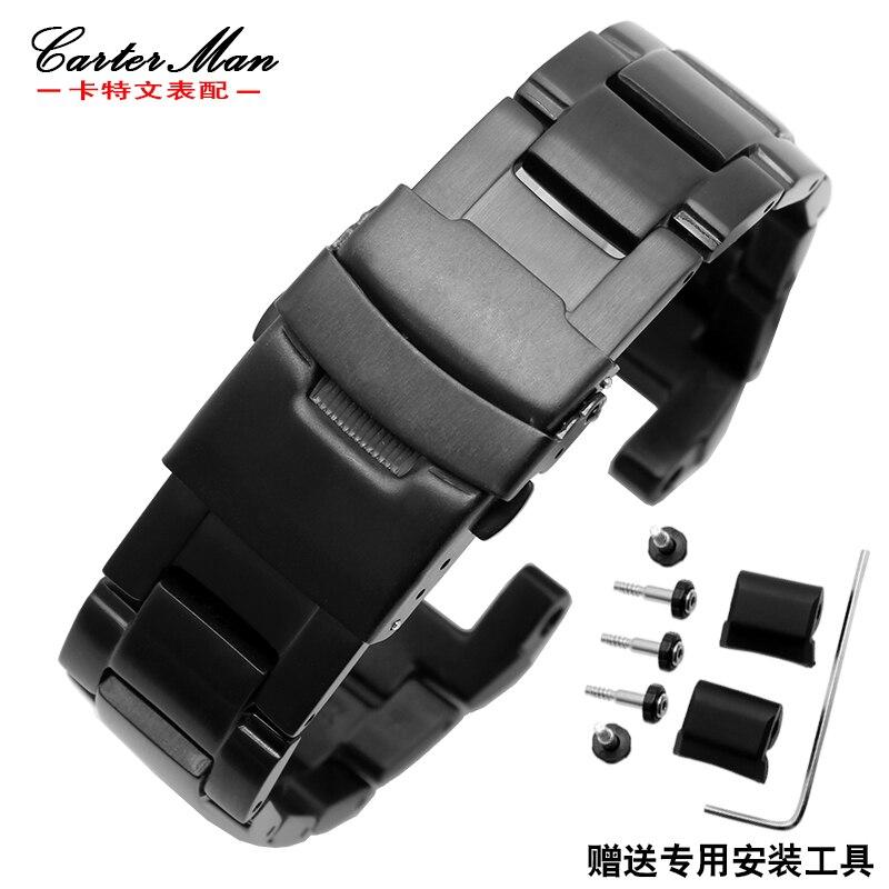 G-choque dos homens de alta qualidade pulseira para Casio GW-A1100 GW-A1000 seguro Duplo fivela de cinta de aço inoxidável + Parafusos + ferramenta