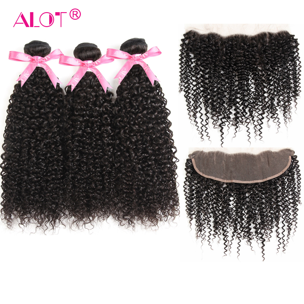 Alot Peruvian Kinky Curly Human Hair Bundles With Frontal Closure Non Remy Human Hair Weave Ear