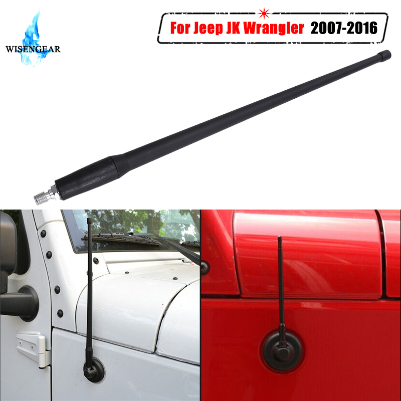 13 voiture Antenne FM Auto Radio Antennes Amplificateur de Signal Pour Jeep Wrangler JK 2007-2016 Caoutchouc Antennes Mât antena WISENGEAR/