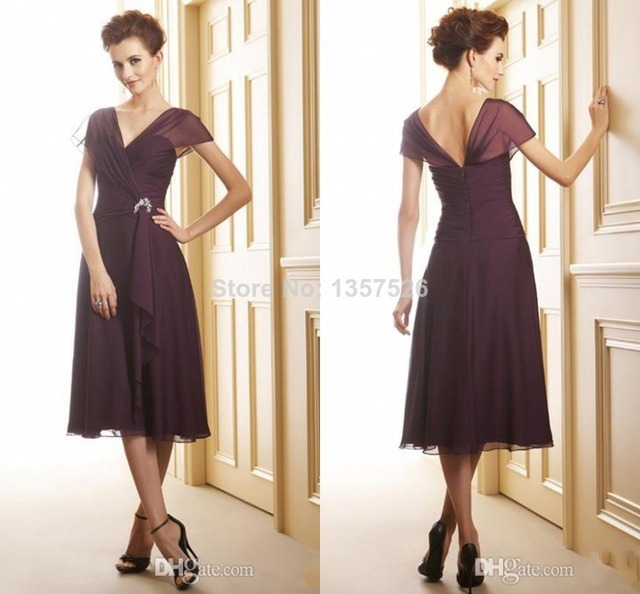 Simple Elegant Tea Length Chiffon Cap Sleeve Wedding: New Designs Bridesmaid Dresses Pleated Beaded A Line V