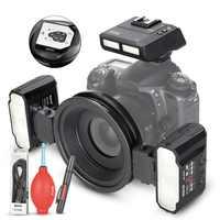 Hacer la Meike MK-MT24 Macro doble Lite Speedlight Flash para Canon cámara DSLR 70D 60D 760D 750D 550D 450D 1200D 5D 6D EOS M3 + regalo
