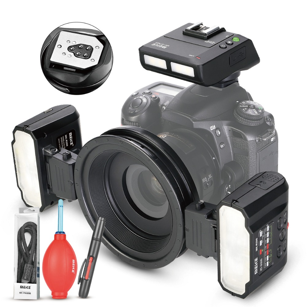 MEKE Meike MK-MT24 Macro Twin Lite Flash Flash pour Canon DSLR Caméra 70D 60D 760D 750D 550D 450D 1200D 5D 6D EOS M3 + CADEAU